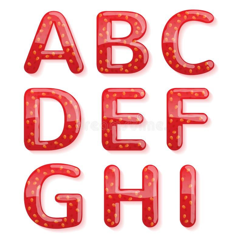 Alfabet för jordgubbedriftstopp Glansiga bokstäver royaltyfri illustrationer