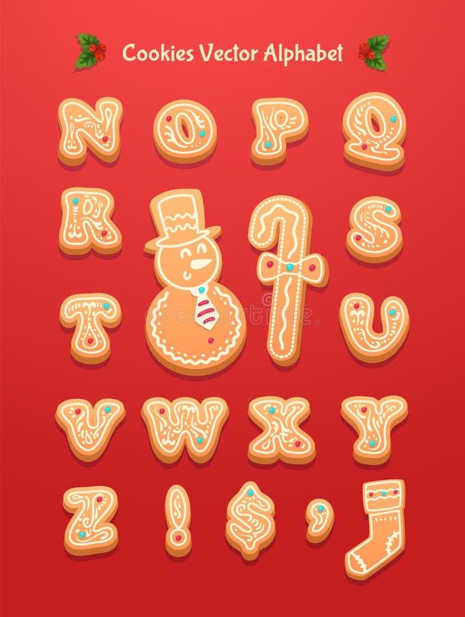 Alfabet för julpepparkakakakor royaltyfri illustrationer
