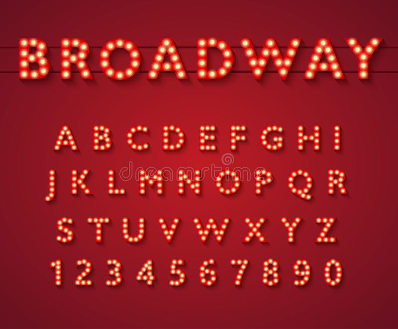 Alfabet för ljus kula i Broadway teaterstil royaltyfri illustrationer