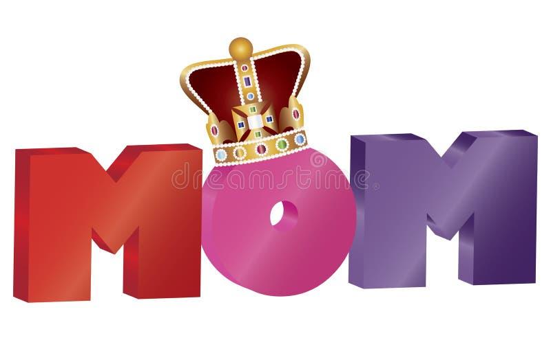 Alfabet för MAMMA för moderdag med kronaillustrationen stock illustrationer