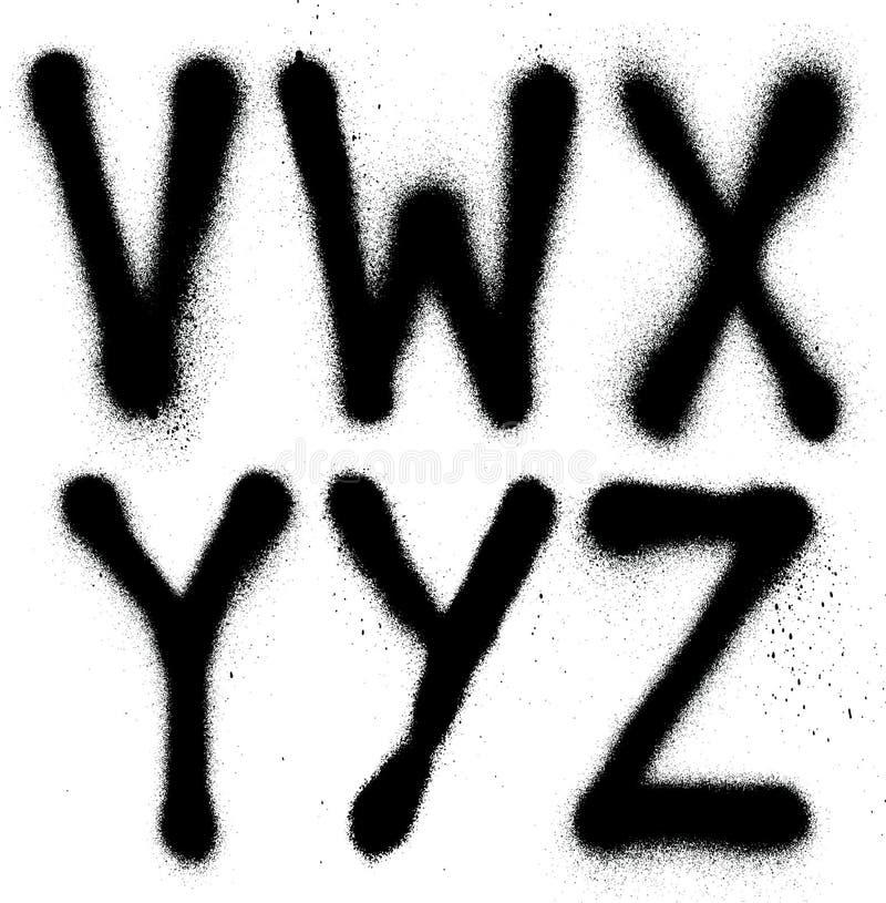 Alfabet för typ för grafittisprutmålningsfärgstilsort (del 4) vektor illustrationer
