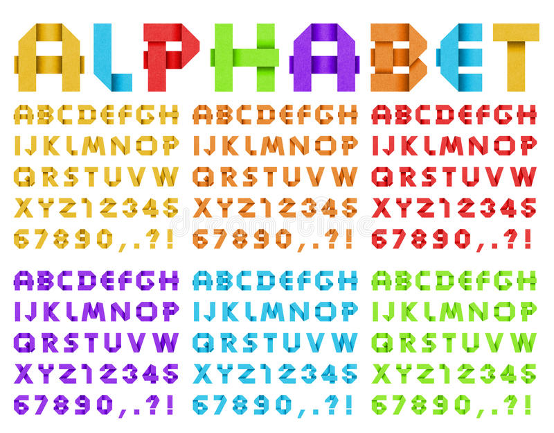 Alfabet från kulört papper fotografering för bildbyråer