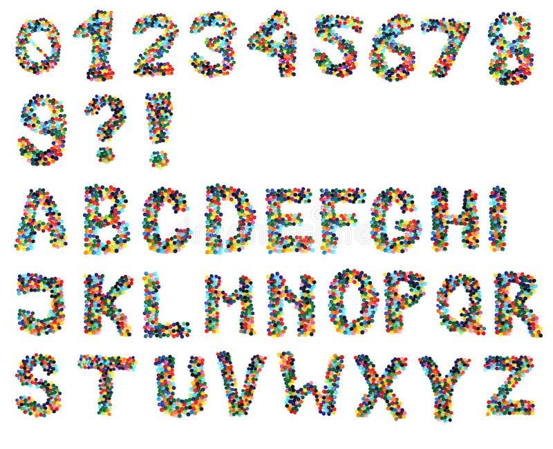 Alfabet från plast- lock arkivbild