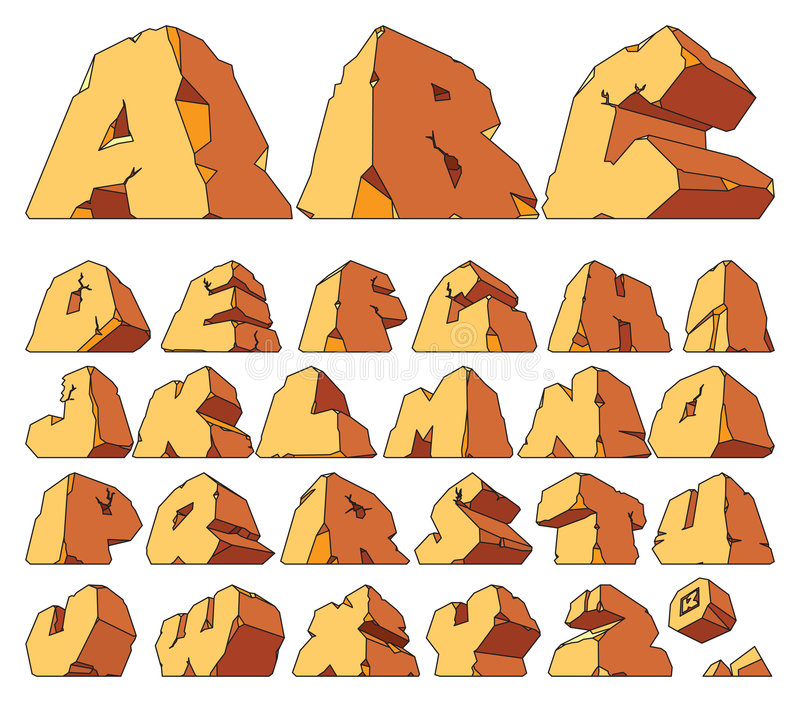 alfabet gjord sten stock illustrationer