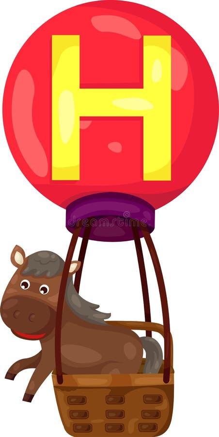 Alfabet H voor paard stock illustratie