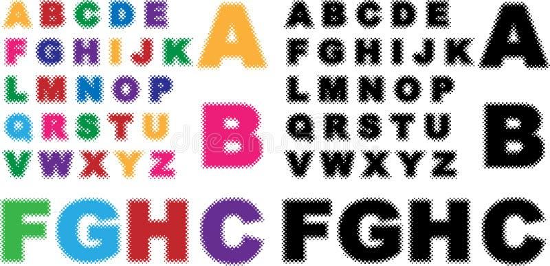 Alfabet - Halftint vector illustratie