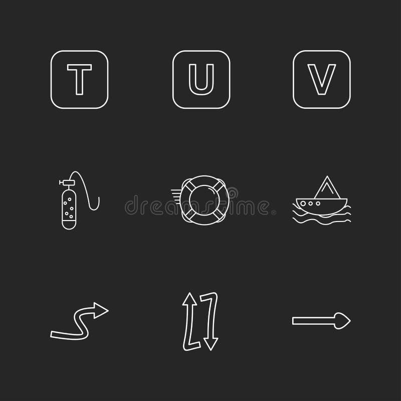 alfabet havet, mat, picknicken, sommar, eps-symboler ställde in vektorn royaltyfri illustrationer