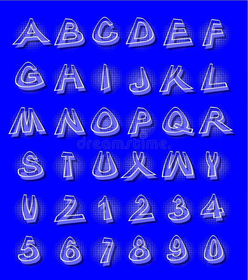Alfabet i modern stil med förvridna bokstäver med skuggningsblått royaltyfri illustrationer