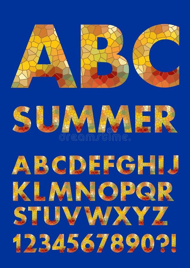 Alfabet i sommarfärger, design för mosaiktextur, polygonal påfyllning, uppercase bokstäver, nummer, fråga och utrop stock illustrationer
