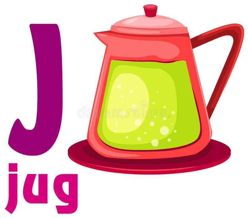 Alfabet J met kruik vector illustratie