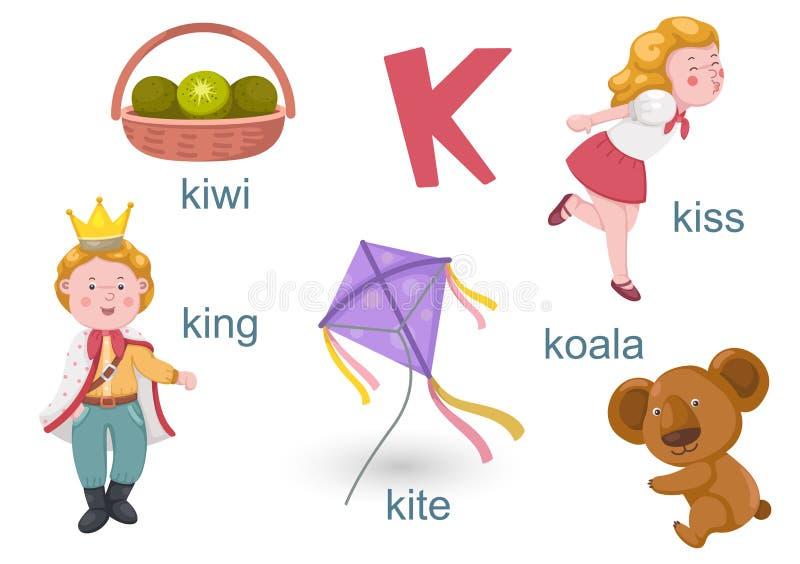 Alfabet K royalty-vrije illustratie