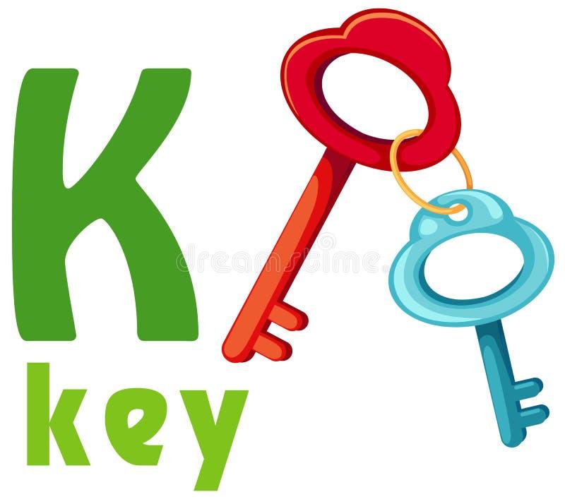 Alfabet K met sleutel royalty-vrije illustratie