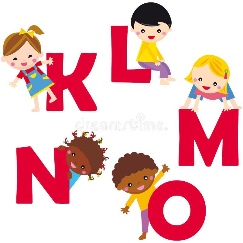 alfabet k-o stock illustratie