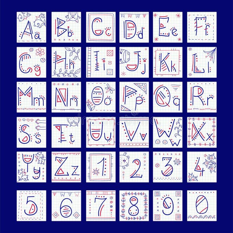 Alfabet in krabbelstijl royalty-vrije illustratie