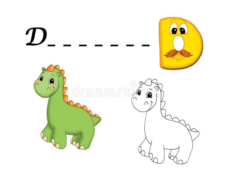 alfabet kulört D stock illustrationer