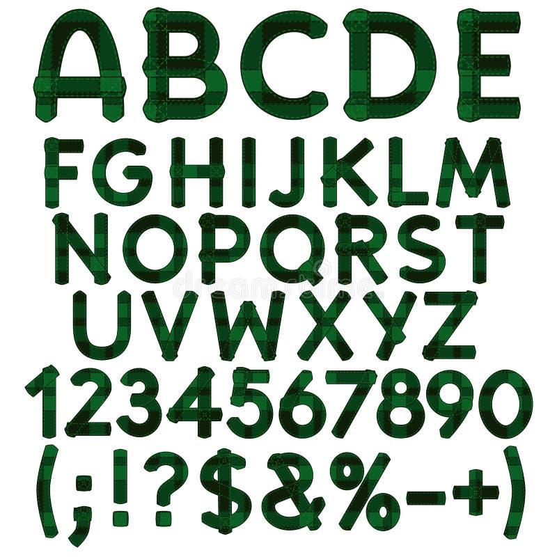 Alfabet, letters, getallen en tekens van groen doekgeruit schots wollen stof Geïsoleerde vectorvoorwerpen stock illustratie