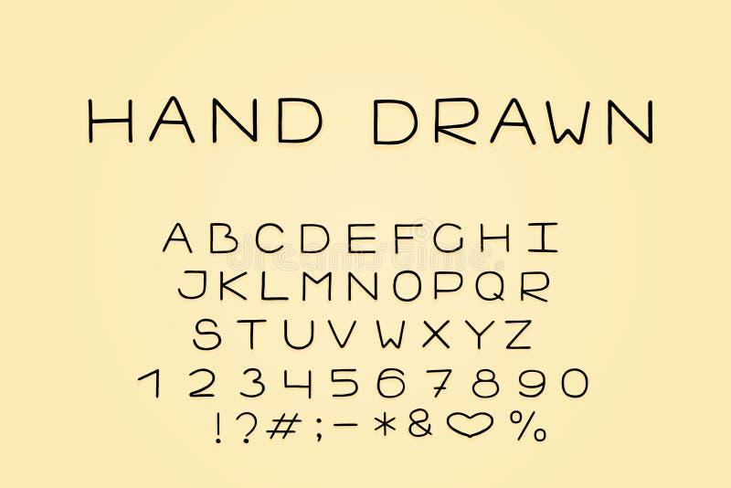 Alfabet lineair ontwerp Hoofdletters, aantallen en leestekens Eps 10 stock illustratie