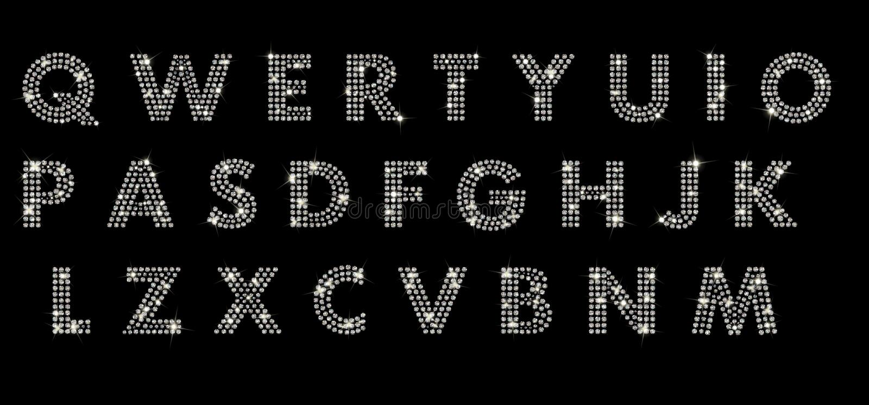 Alfabet med diamanter royaltyfri fotografi