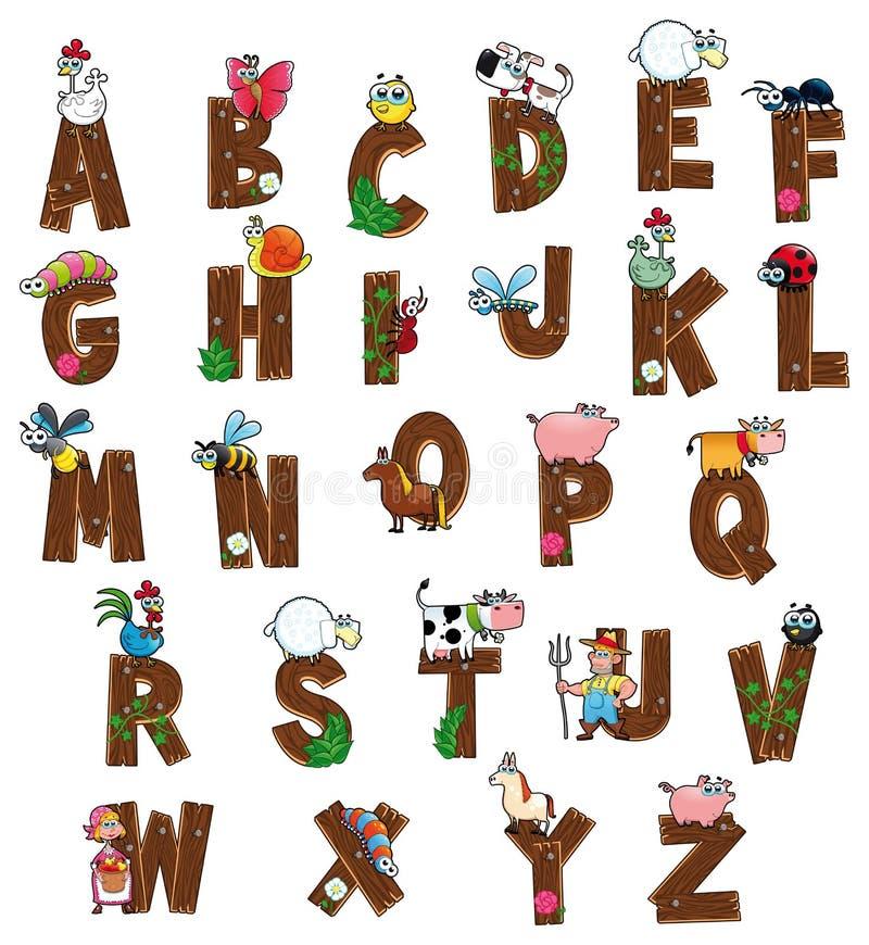 Alfabet met dieren en landbouwers. stock illustratie
