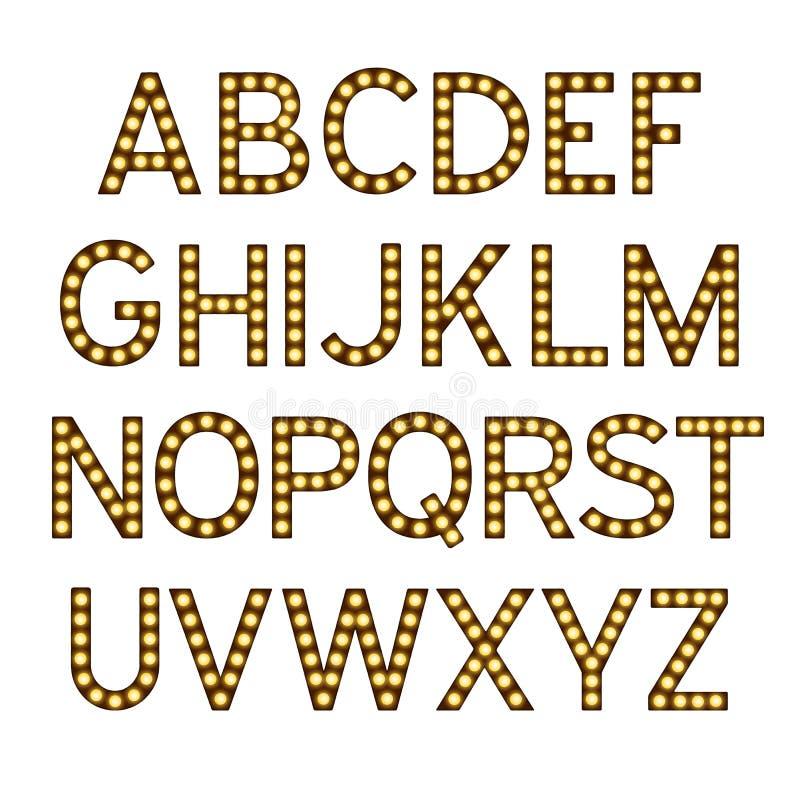 Alfabet met gloeilampen, brieven met lampen, lampdoopvont, gloeiende brieven imitatie, vectorillustratie royalty-vrije stock foto