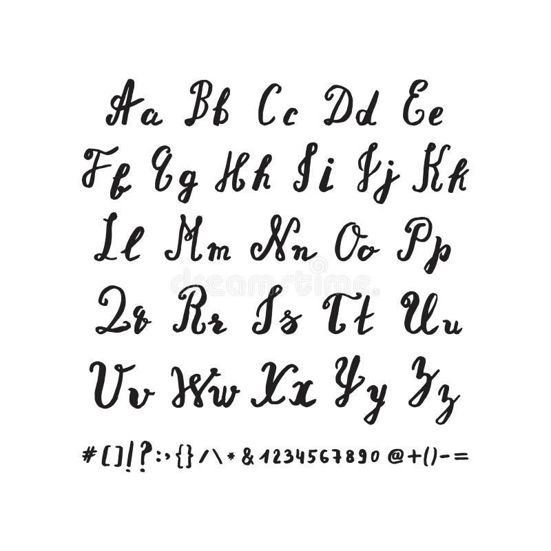 alfabet narysować ręka Wektorów listy rysujący szczotkarskim piórem ilustracji
