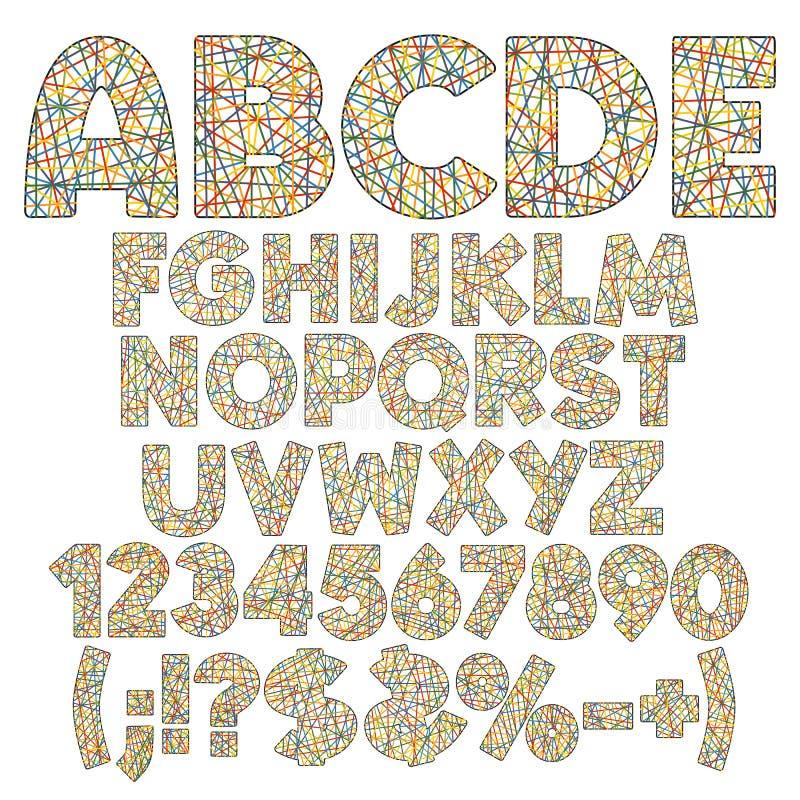 Alfabet, nummer, bokstäver och tecken av färgband, band, trådar St?ll in av isolerade objekt f?r f?rg vektorn royaltyfri illustrationer