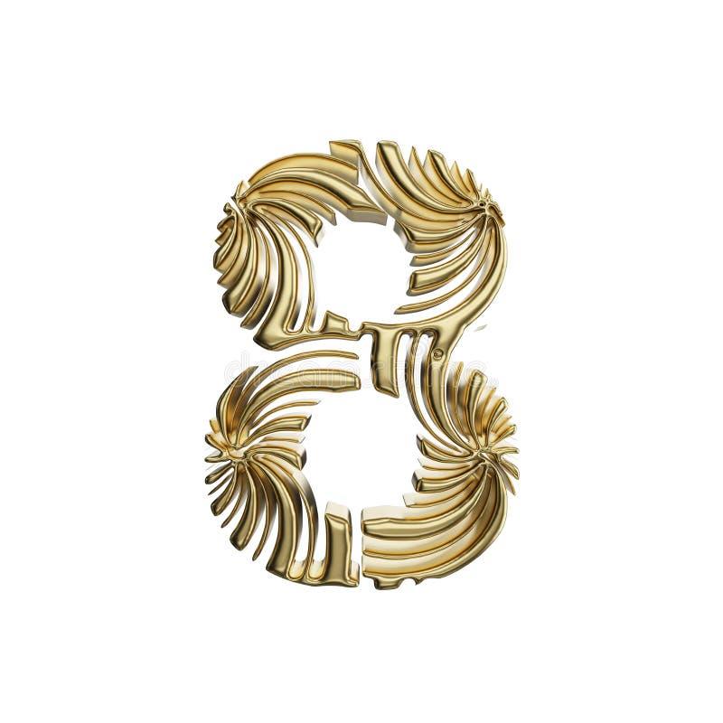 Alfabet nummer 8 Gouden die doopvont van glanzend geel metaal wordt gemaakt 3d geef op witte achtergrond geïsoleerd? terug stock illustratie
