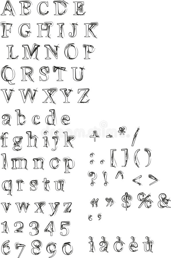 Alfabet, nummer och interpunktion stock illustrationer