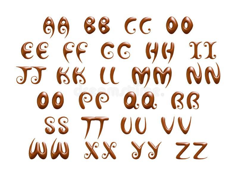 Alfabet & nummer och symboler som göras av chokladsirap stock illustrationer