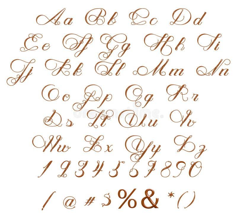 Alfabet & nummer och symboler som göras av chokladsirap vektor illustrationer