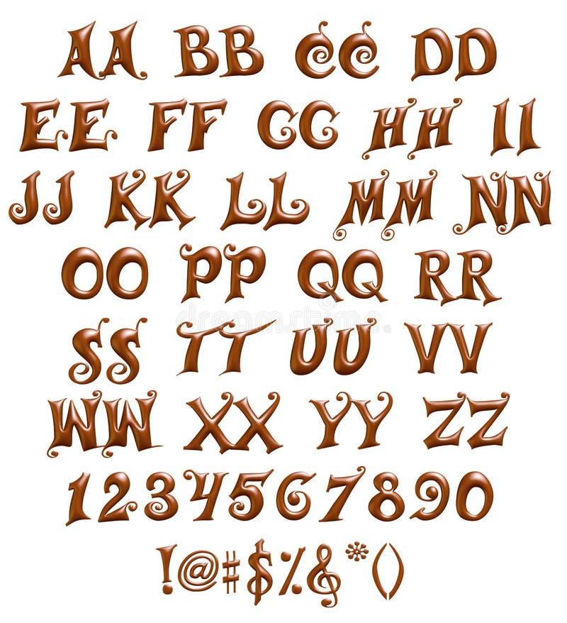 Alfabet & nummer och symboler som göras av chokladsirap royaltyfri illustrationer