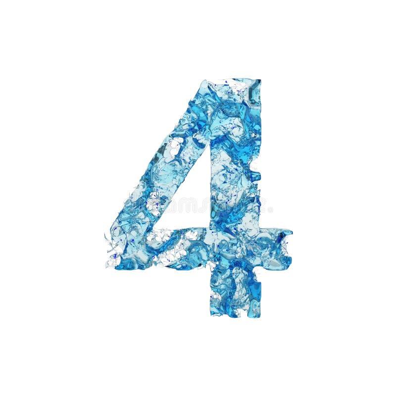 Alfabet nummer 4 Vätskestilsort som göras av blått genomskinligt vatten 3d framför isolerat på vitbakgrund royaltyfri illustrationer