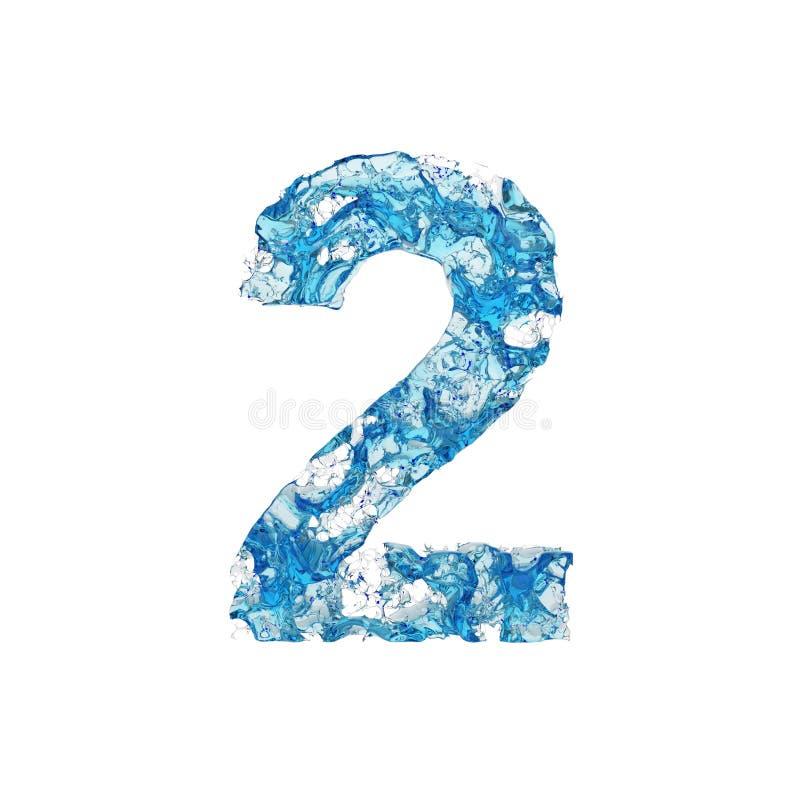 Alfabet nummer 2 Vätskestilsort som göras av blått genomskinligt vatten 3d framför isolerat på vitbakgrund royaltyfri illustrationer