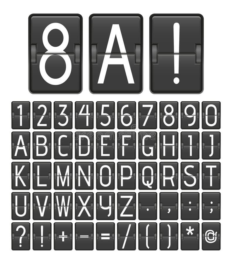 Alfabet och nummer från det mekaniska funktionskortet Bläddring av panelen från flygplats eller sportstadion royaltyfri illustrationer