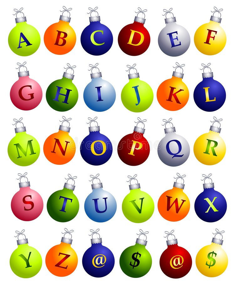 Alfabet op de Ornamenten van Kerstmis vector illustratie