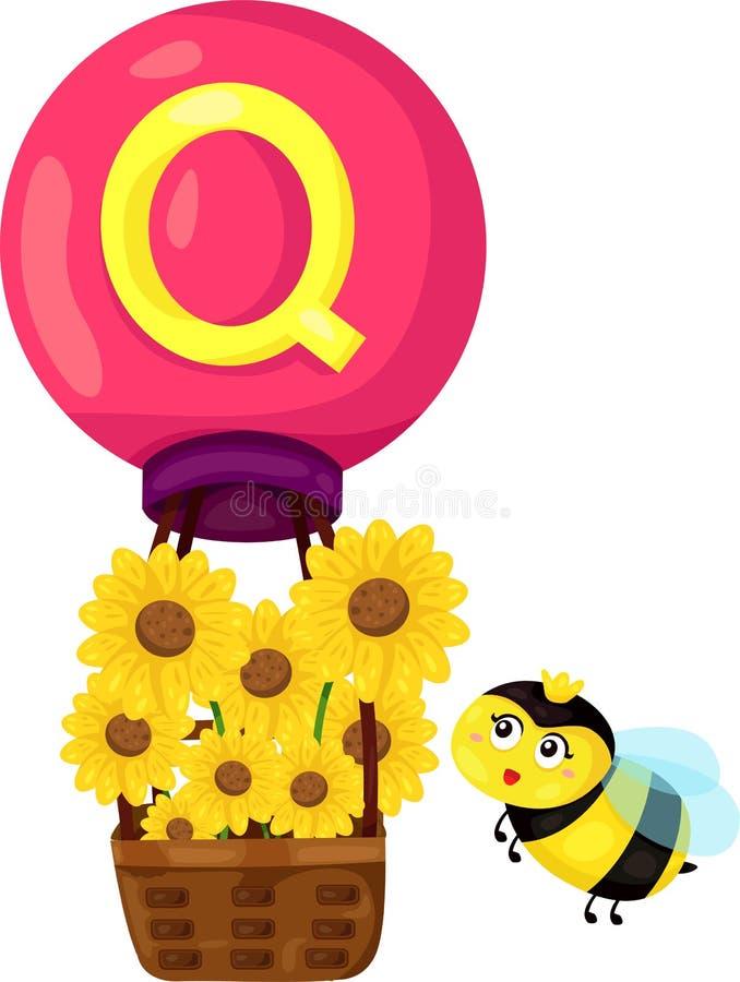 Alfabet Q voor koningin royalty-vrije illustratie