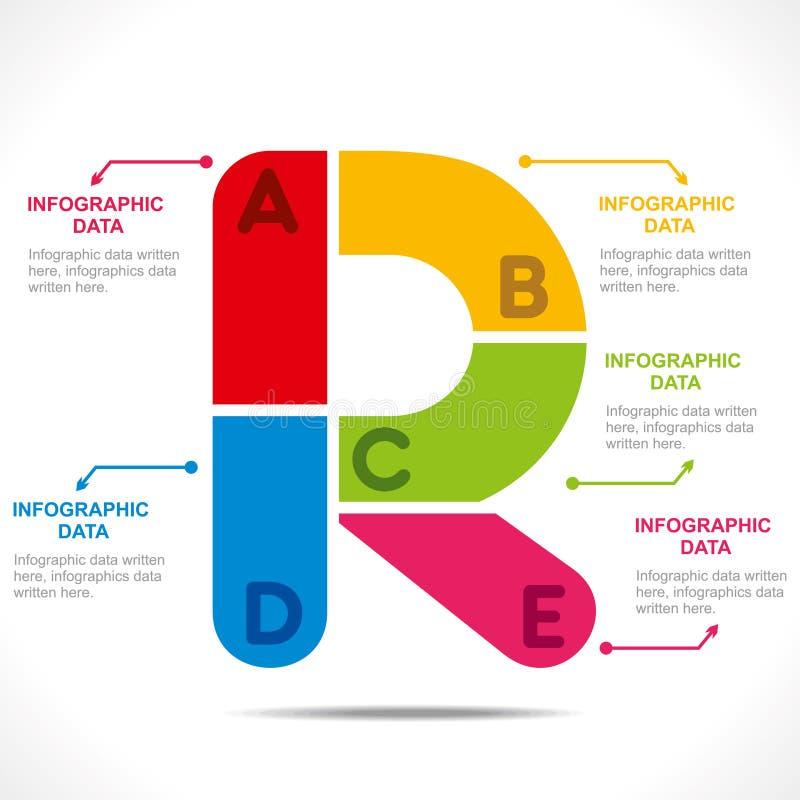 alfabet 'R' informatie-grafiek ontwerp vector illustratie