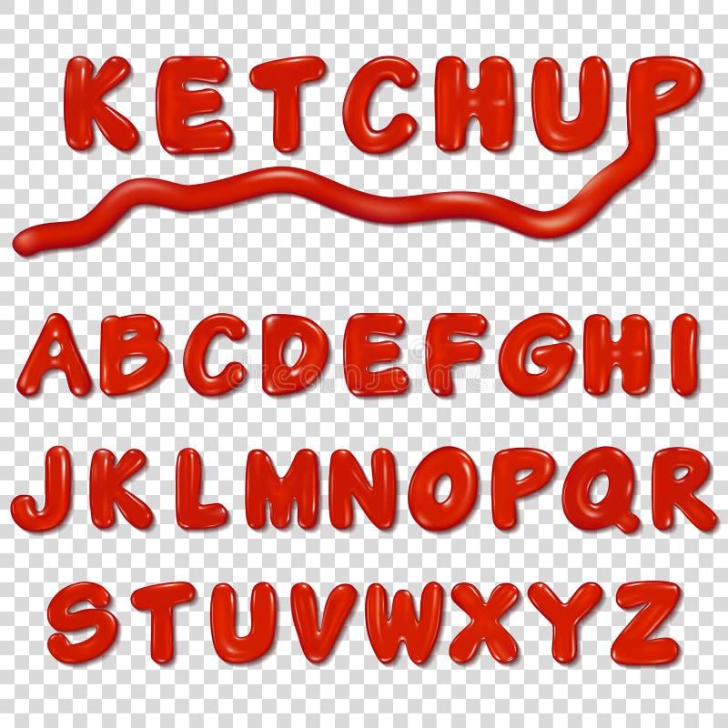 Alfabet som är skriftligt vid ketchupsås vektor illustrationer