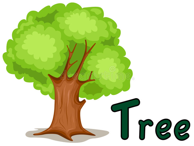 Alfabet T voor boom stock illustratie