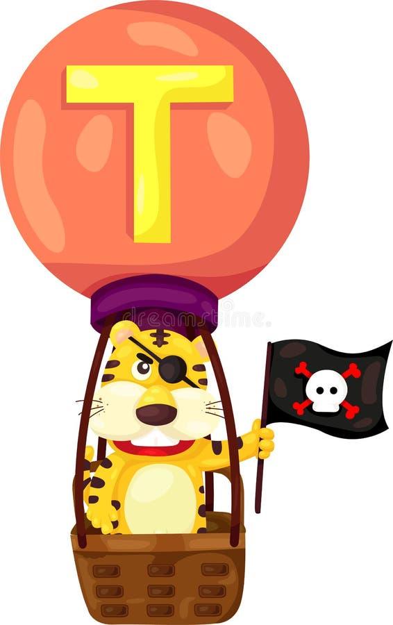 Alfabet T voor tijger royalty-vrije illustratie