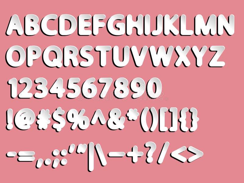 Alfabet, tal och tecken vektor illustrationer