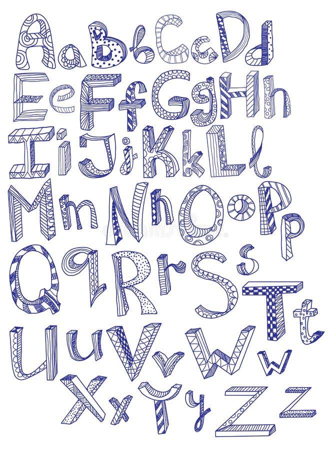 Alfabet Tecknad Hand Arkivbild