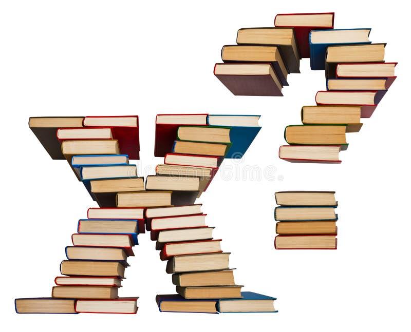 Alfabet uit boeken, brieven X en vraagteken wordt gemaakt dat royalty-vrije stock afbeeldingen