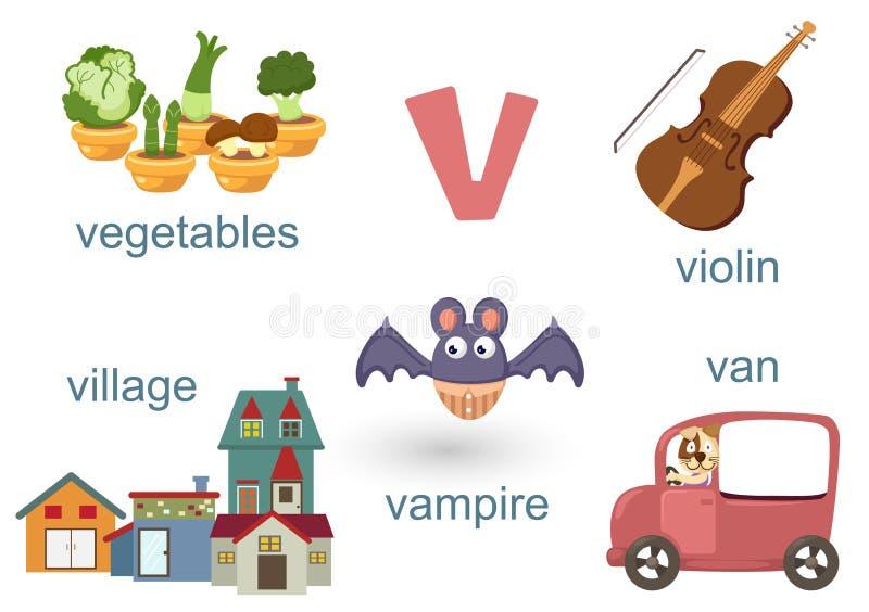 Alfabet V vector illustratie