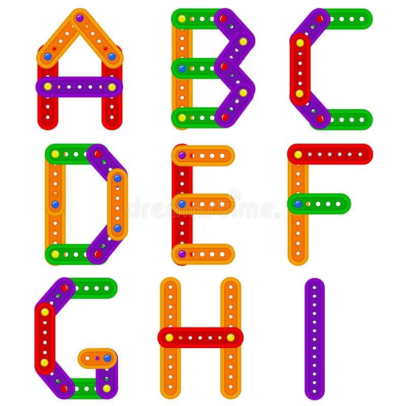Alfabet van aannemer van A aan I royalty-vrije illustratie