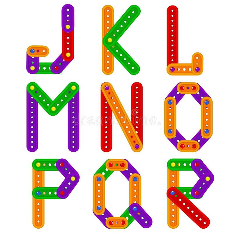 Alfabet van aannemer van J aan R stock illustratie