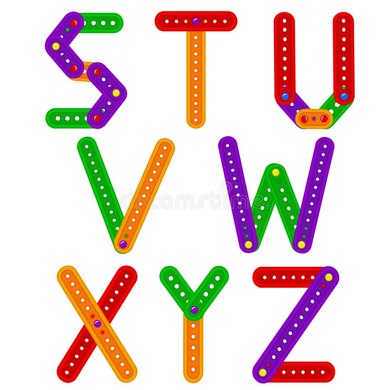 Alfabet van aannemer van S aan Z vector illustratie