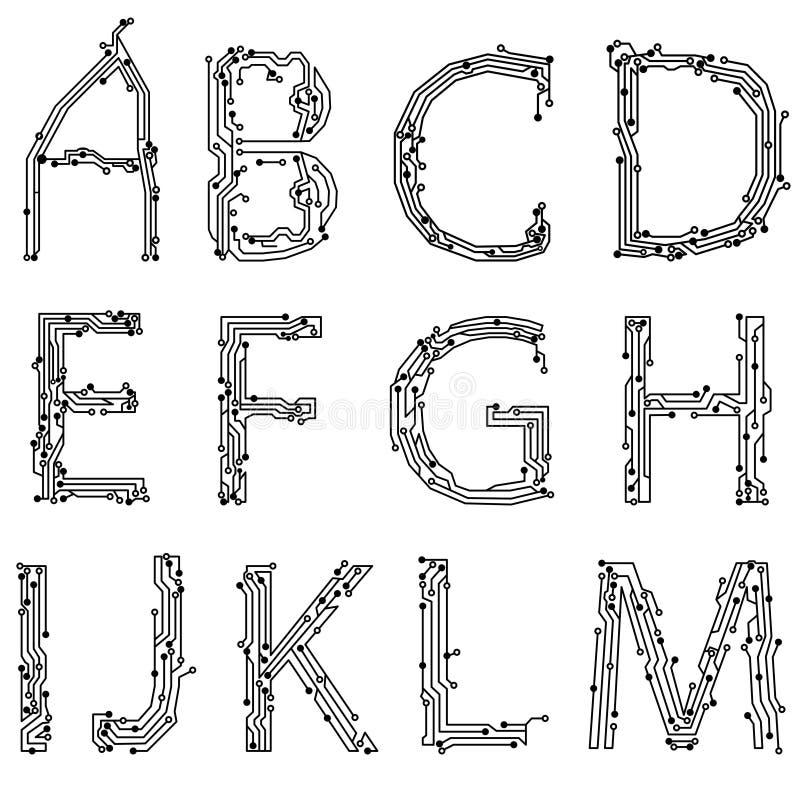Alfabet van afgedrukte kringsraad vector illustratie