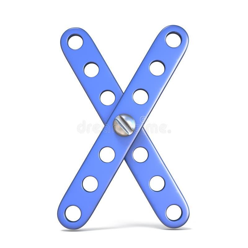 Download Alfabet Van Blauwe Het Stuk Speelgoed Van De Metaalaannemer 3D Brief X Wordt Gemaakt Die Stock Illustratie - Illustratie bestaande uit ontwerp, font: 107704462