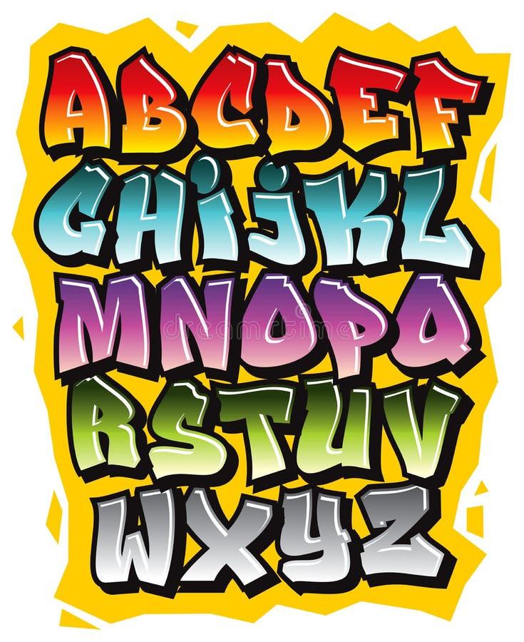 Alfabet van de de krabbeldoopvont van de beeldverhaal het grappige graffiti Vector royalty-vrije illustratie